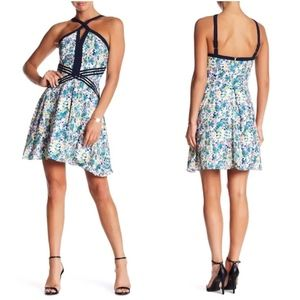 Adelyne Rae Blue Floral Halter Fit Flare Dress